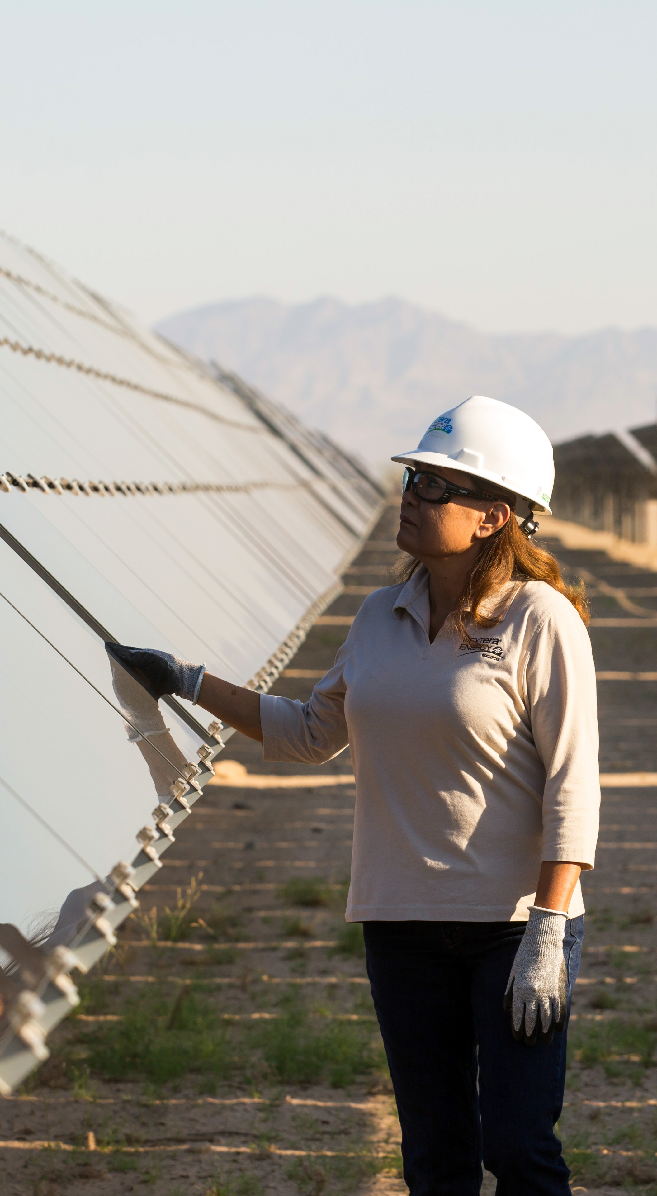 woman in solar field