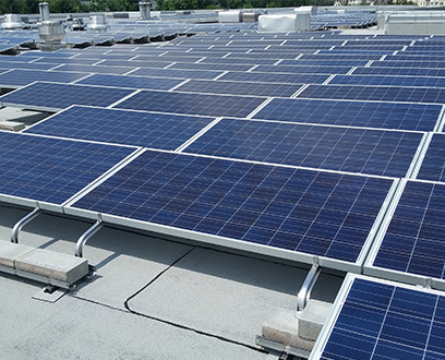Rooftop solar panels on top of BMW Building