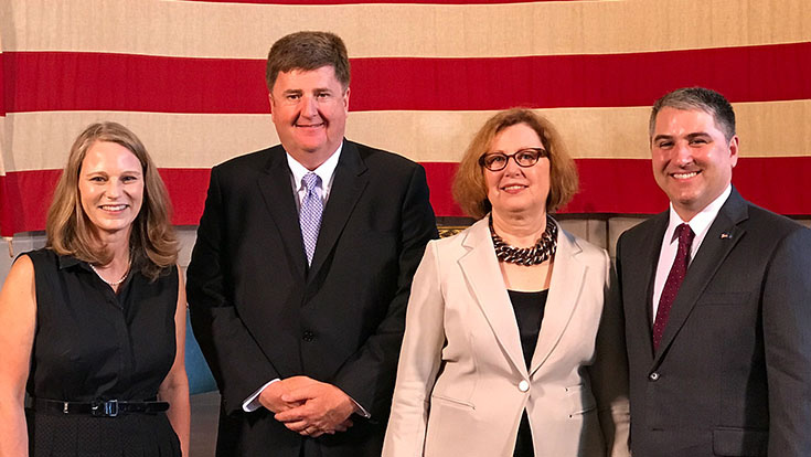 (L-R) Nebraska First Lady Susanne Shore with Nebraska 150 partners Steve Grandfield, executive vice president  – Strategy and Innovation, Blue Cross & Blue Shield Nebraska; Suzanne Wise, executive director, Nebraska Arts Council; and Philip Clement, NextEra Energy Resources renewable development project director
