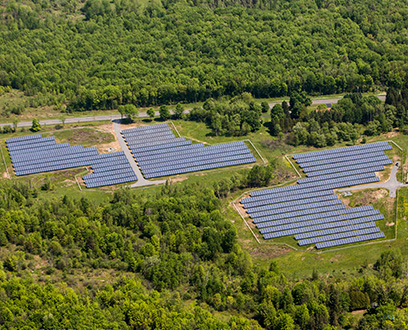 Aerial view of Oneida land solar panels